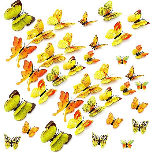 - Amaonm 24 PCS 3D Cute Cartoon Animails Butterfly Wall Decals Removable DIY Double Wings Butterflies Crafts art Decor Wall Stickers Murals for Kids Girls Bedroom Living Room Classroom Offices (Yellow)