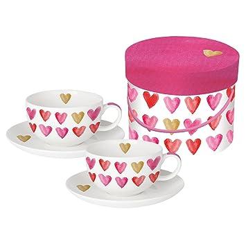 PPD Aquarell Hearts Real Gold Cappuccinotassen mit Untertassen Cappuccino Tasse