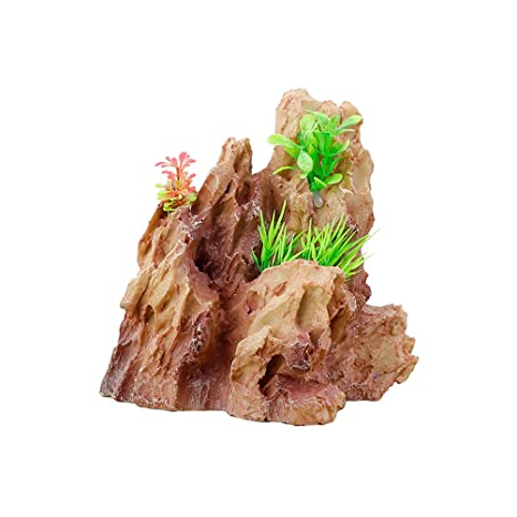 POPETPOP Acuario de Resina Paisajismo Falsos Mountian Stone Mountain Adornos Accesorios para acuarios (tamaño pequeño