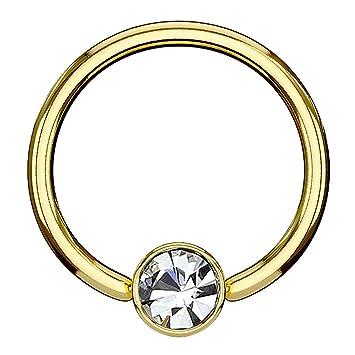 1,6mm Gold Piercing Ring 5mm Kristall Kugel Ohr Lippen Brust Intim Piercing