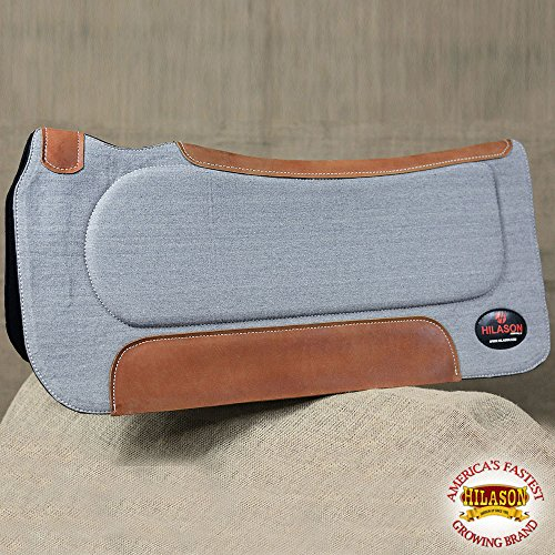 (HILASON FP820F WESTERN COTTON WOOL FELT GEL GREY SADDLE PAD W/COWHIDE LEATHER)