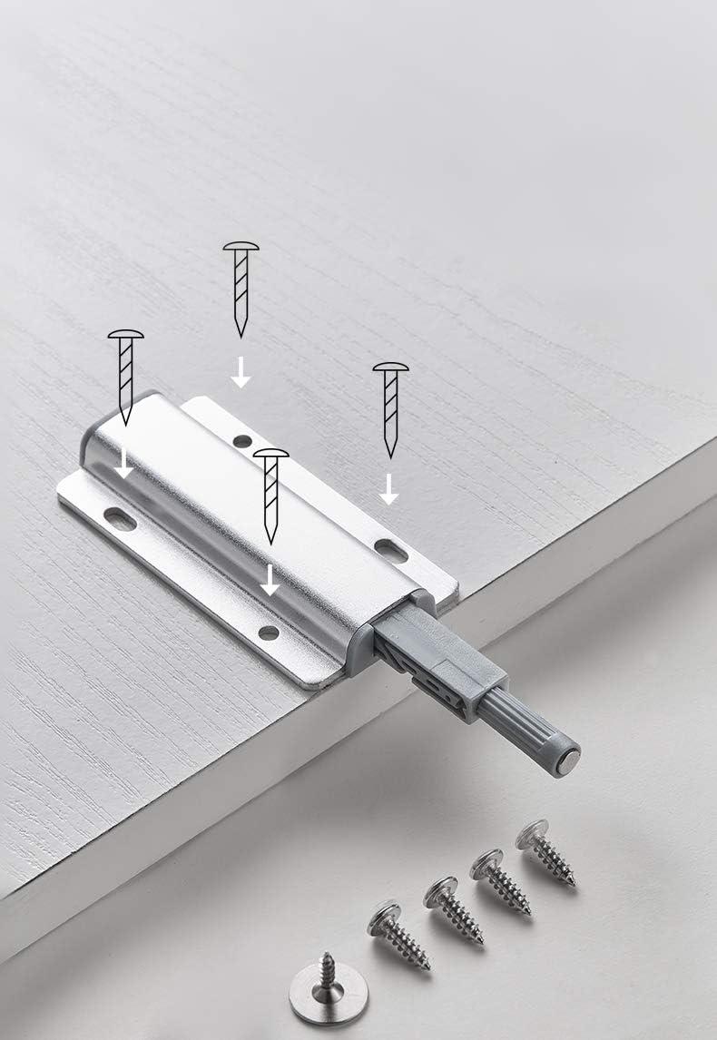 YUOIP/® 10 unidades de montaje lateral Amortiguador magn/ético de aleaci/ón de aluminio para abrir y cerrar la puerta con un solo empuje
