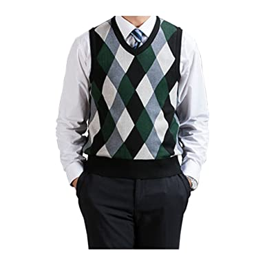 4c74e8d790 Fange Men s Argyle V-Neck Sweater Vest Woolen Color Block Knit Business  Casual Green S