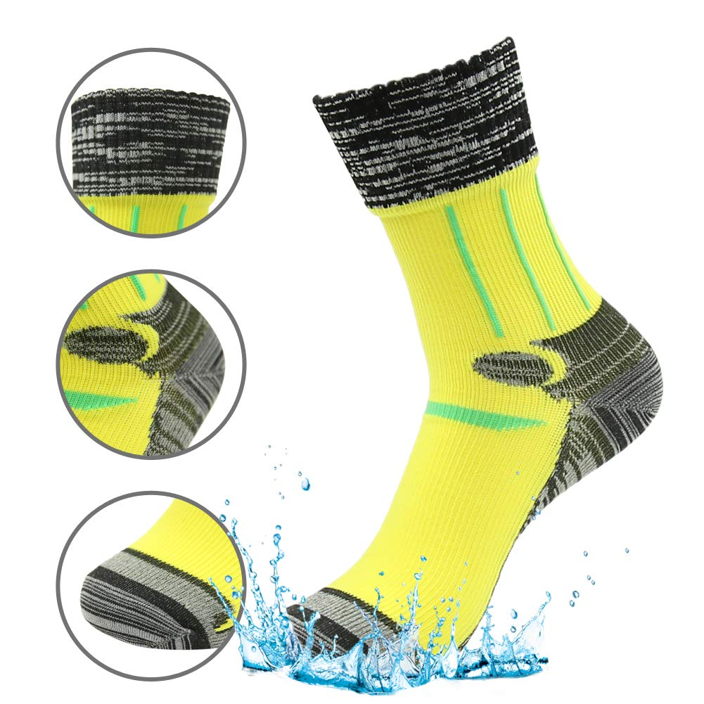 RANDY SUN 100% Waterproof Hiking Socks, Men's Sports Lifestyle Crew Cut Socks Yellow Black Grey Size Medium by RANDY SUN