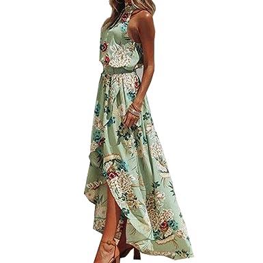 892d0e242cf Bohemian Dress with Floral Print hi-Low Silhouette Halter Neck Symphony  Green Color Summer Dress