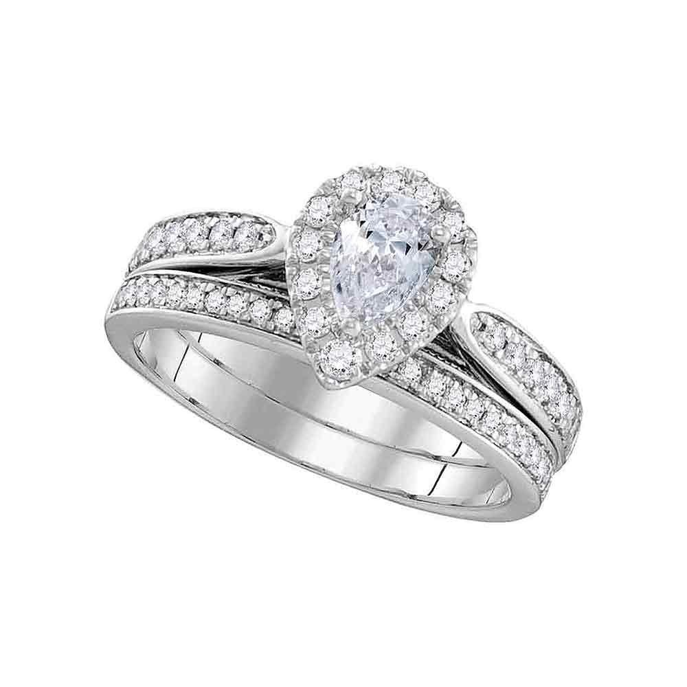 Pear Diamond Engagement Ring & Wedding Band Set Solid 14k White Gold Halo Bridal Set Teardrop 1.00 ctw