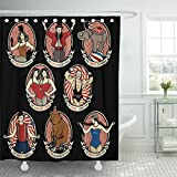 TOMPOP Shower Curtain Vintage Circus Collection The Strong Man Siamese Twins Entertainer Waterproof Polyester Fabric 72 x 78 Inches Set with Hooks