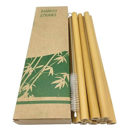 5lightrich Pajitas Biodegradables 10 Piezas Pajitas De Bambú ...