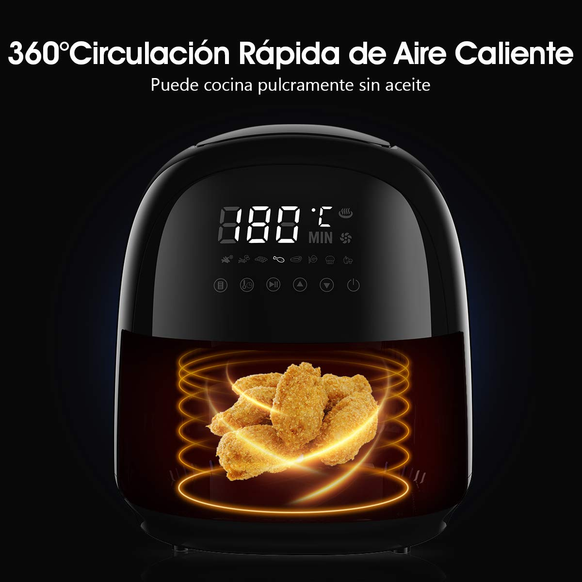 8 Modalit/à da Cucina Timer e controllo di Temperatura Rapida Circolazione dell/'Aaria Interna Aerofryer Rackaphile Friggitrice ad Aria senza Olio di 3,5 litri LED Touchscreen Digitale