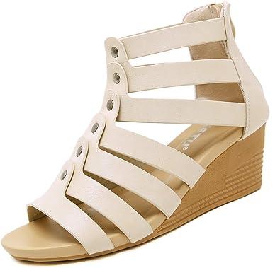 795c74ec66 Amazon.com   Yozai Womens Low Wedge Summer Sandals with Back Zipper ...