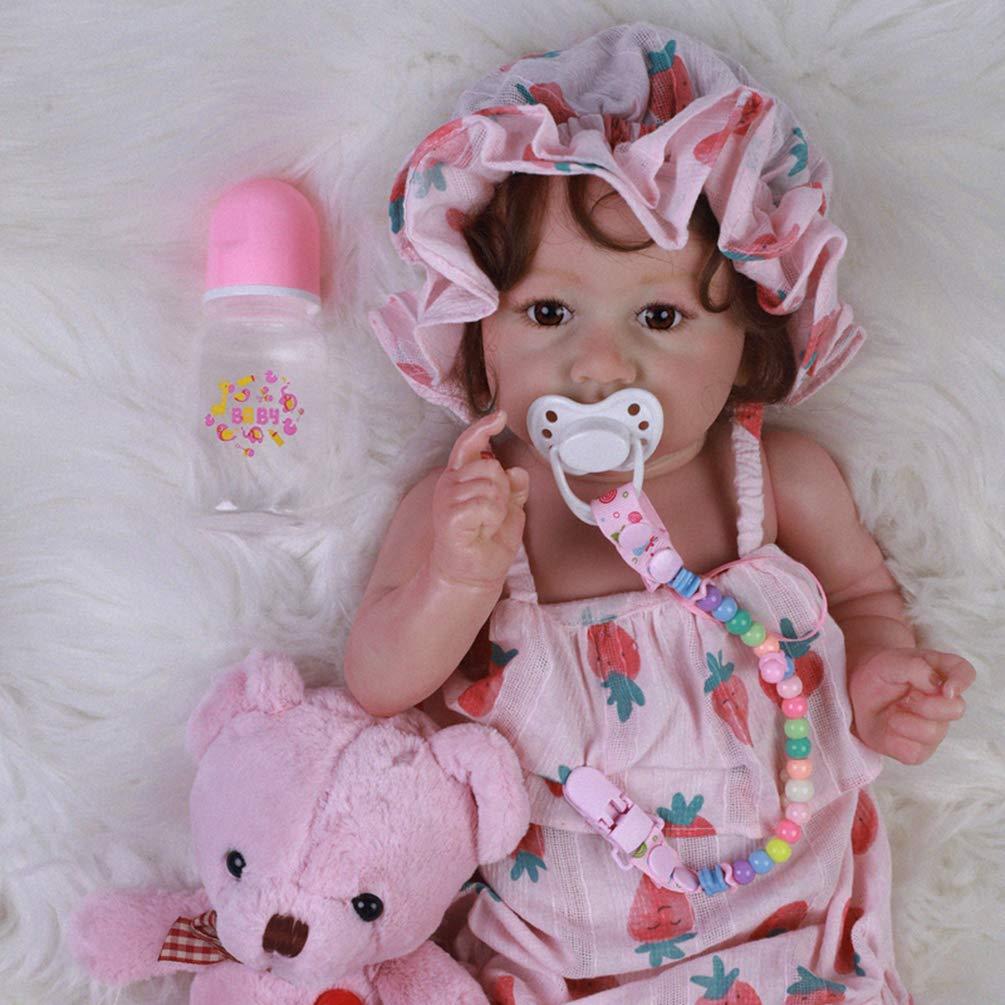 Zaoyun Reborn Babys 58cm Lebensechtes Silikon Vinyl Reborn Baby Puppe Mädchen Realistisch Offene Augen Reborn Toddlers Geschenke Magnetisches Spielzeug Geschenke (A-brown eyes) A-blue eyes