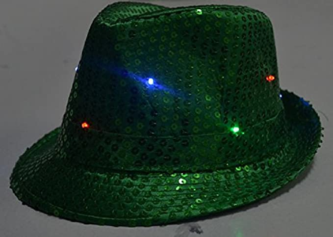 2ed8ead7de7e3 LED Light Up Flashing Fedora Hat - Various Colors by Mammoth Sales (Green)