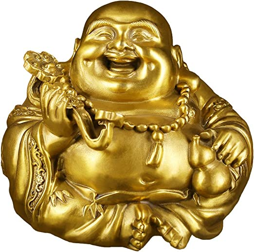 Brass Idol Laughing Buddha Statue 5 1 H With Ruyi Feng Shui Luck Wealth Sculpture Home Decor Gift Collection Ptzy031 Home Kitchen