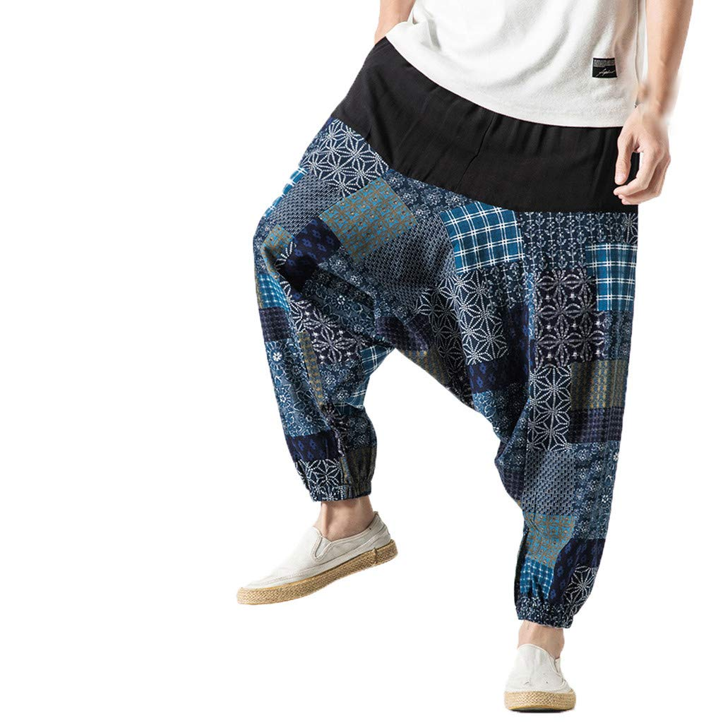 Alueeu Men's Hippie Harem Pants Funny Printing Fashion Trousers Style Retro Broken Flower Pants Large Wide Legged Pants Blue by Alueeu Men's