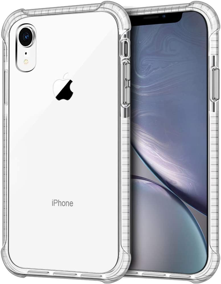 iPhone XR Case, LOEV Crystal Clear Shockproof Slim Fit Hybrid Protective Case with 4 Corners Drop Protection Cushion Anti-Scratch Hard PC Back & Soft TPU Bumper Cover for Apple iPhone XR 6.1