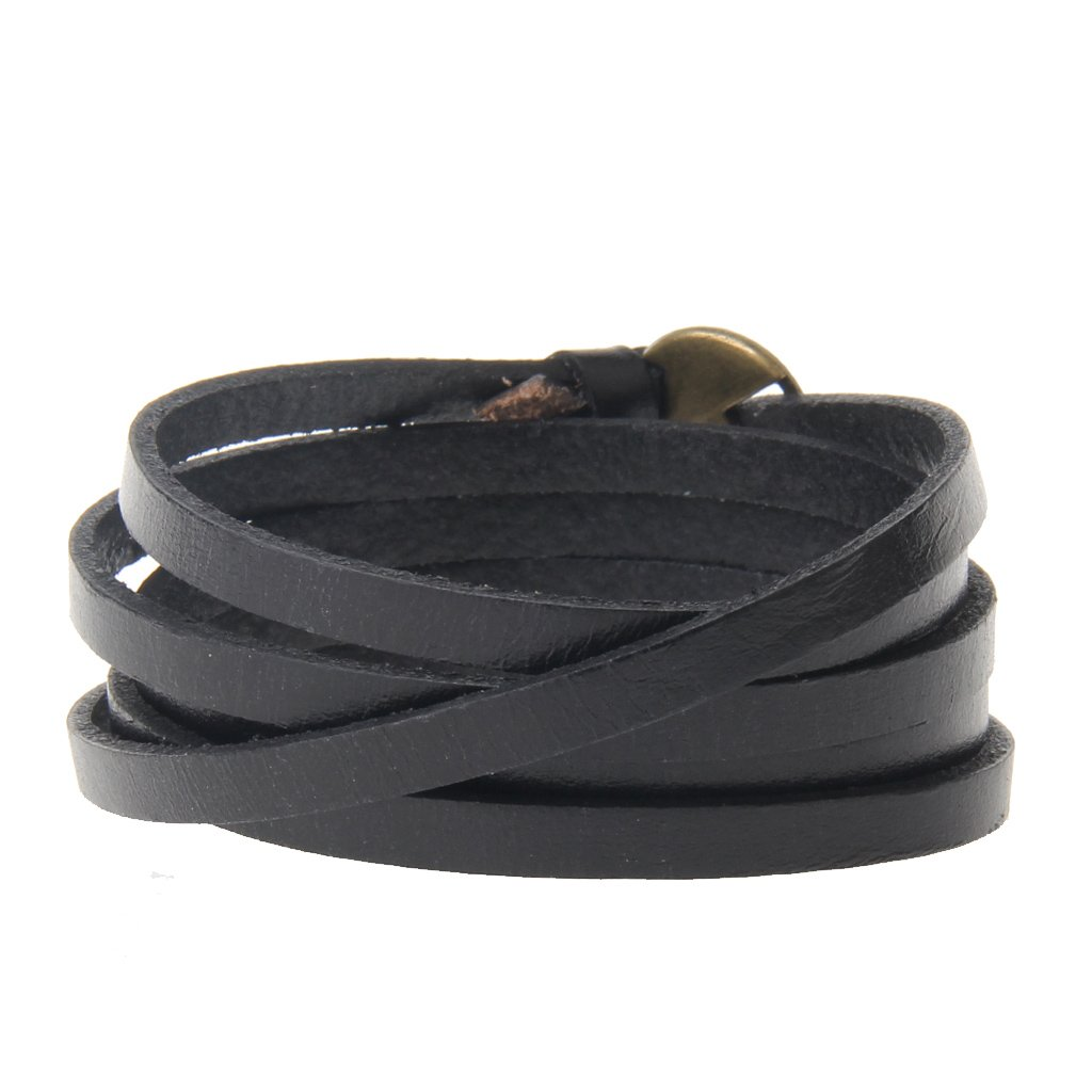 Jenia Adjustable Genuine Leather Bracelet Wrap Cuff Multilayer Wristband for Women and Men by Jenia (Image #2)