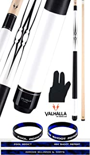 product image for Valhalla VA234 by Viking 2 Piece Pool Cue Stick 5 Point Transfers White Opaque Stain Nylon Wrap 18-21 oz. Plus Billiard Glove & Bracelet