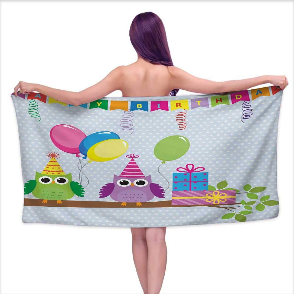 Bath Towel Kids Birthday Cartoon Style Owls at a Party with Flags Boxes on a Polka Dotted Backdrop Super Soft Highly Absorbent W35 x L12 Baby Blue