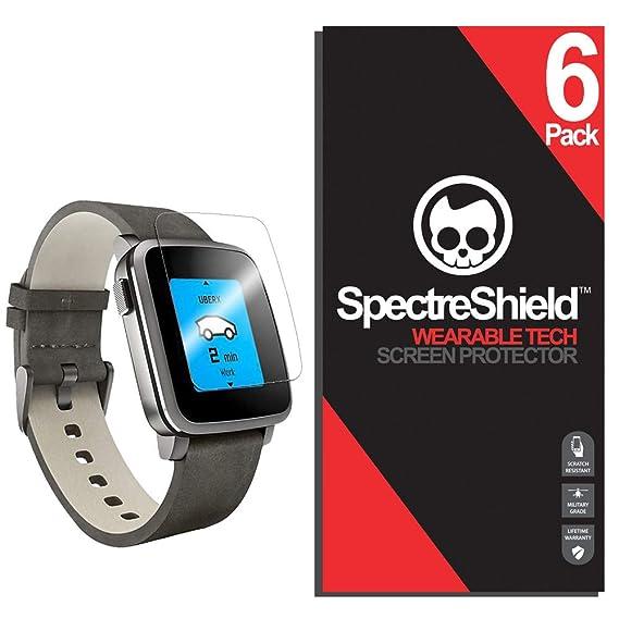 (6 Pack) Spectre Shield Pebble Time Steel Screen Protector Accessory Screen Protector for Pebble Time Steel Case Friendly Full Coverage Clear Film
