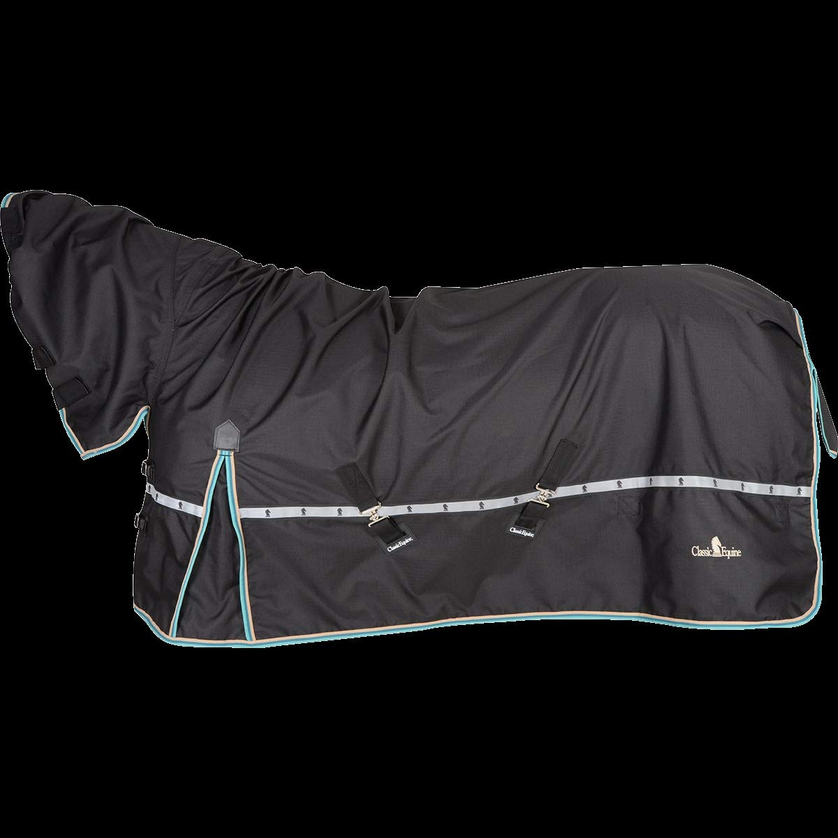 Classic Equine Horse Windbreaker Turnout Sheet Black (with Hood, L-80-82'')