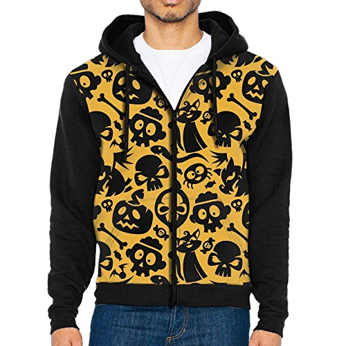 Men's Halloween Cat Skull Candy Bone Spider Fashion Casual Athletic Long Sleeve Crew Sweatshirt Zipper Hoodie Pockets ()