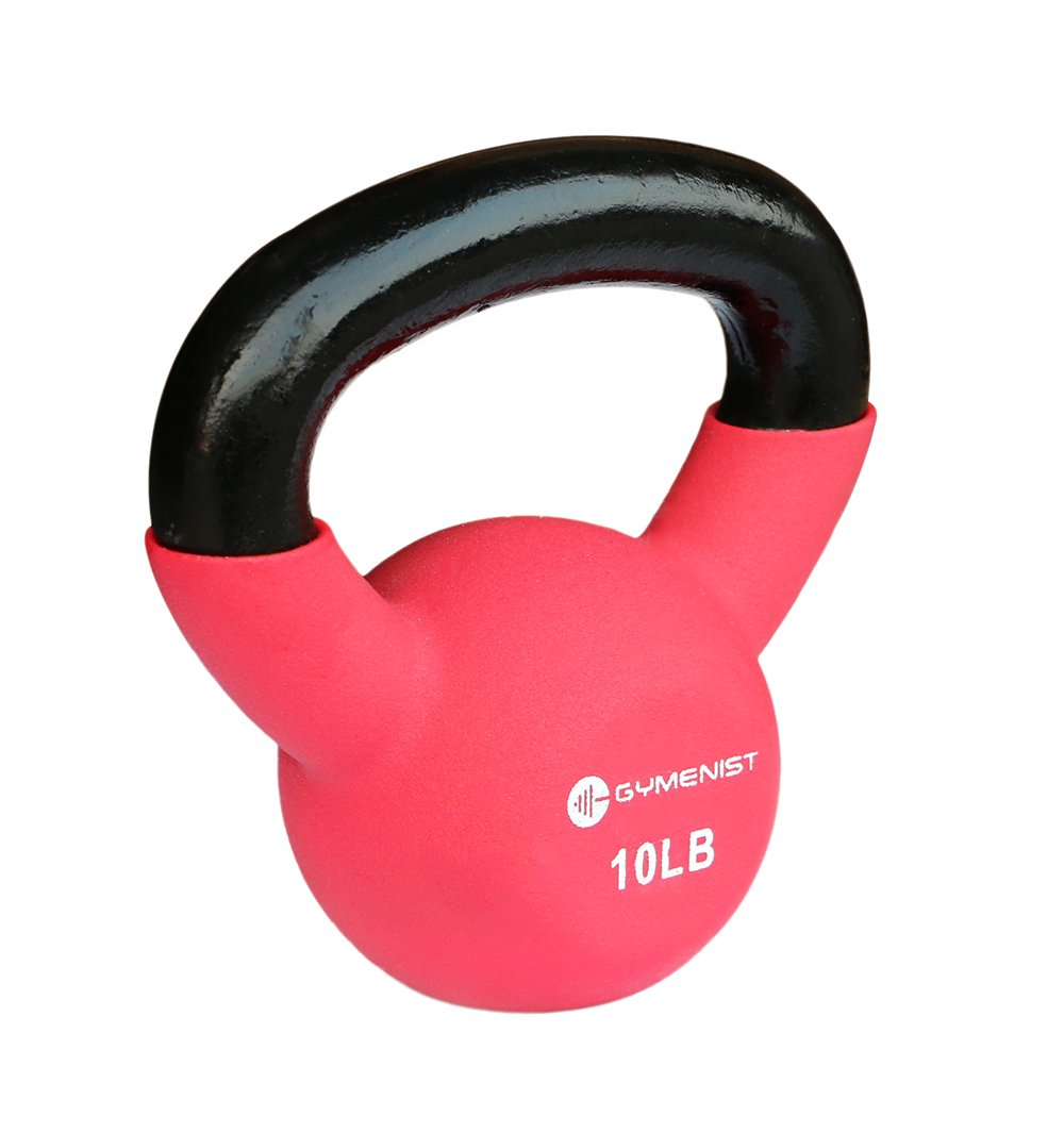 GYMENIST Kettlebell Fitness Iron Weights with Neoprene Coating Around The Bottom Half of The Metal Kettle Bell (10 LB)
