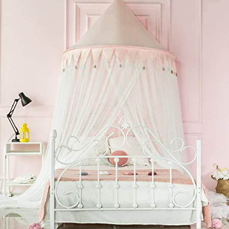 Letto A Baldacchino 1 Piazza.Amazon Com Princess Bed Canopy Net For Kids Baby Bed Tent Round