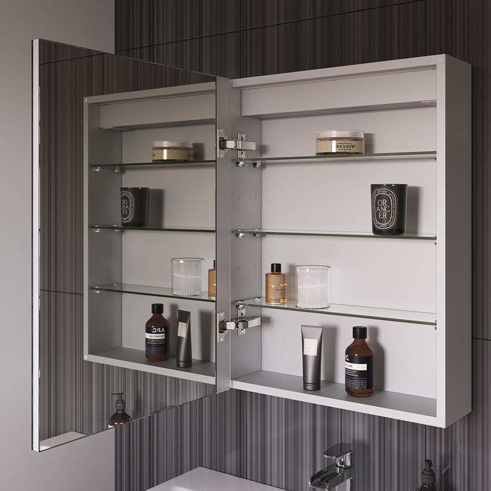 450 X 600 Mm Illuminated LED Bathroom Mirror Cabinet With Shaver