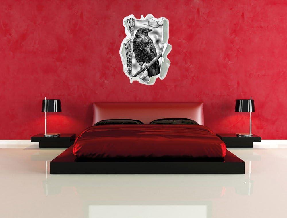 Wanddekoration Wandtattoo Wand- oder T/üraufkleber Format: 62x45cm schwarzer Rabe auf AST Papier im 3D-Look Stil.Zeit Monocrome Wandsticker