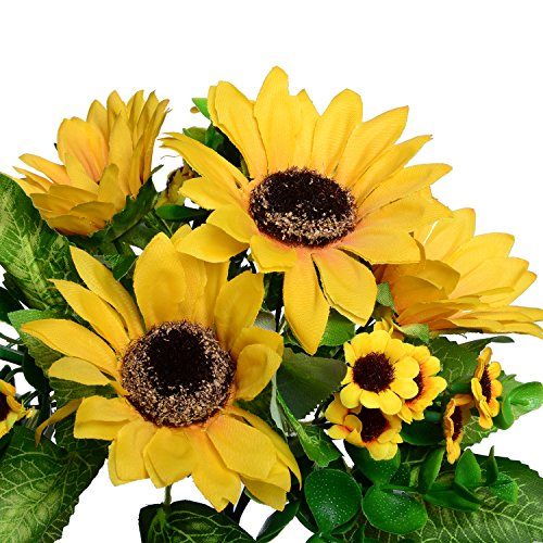 GreenDec 2pcs Artificial Fake Sunflowers Bouquet in Yellow Flower Arrangement for Home Kitchen Floor Garden Wedding Decor