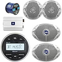 JBL Gauge Style Marine Digital Media Bluetooth Receiver, JBL 4-Channel Full-Range Marine Amplifier, 2x JBL 6x9 2-Way White Coaxial Speakers + 2x JBL 6.5 Speakers + Enrock 50 Foot 16g Speaker Wire