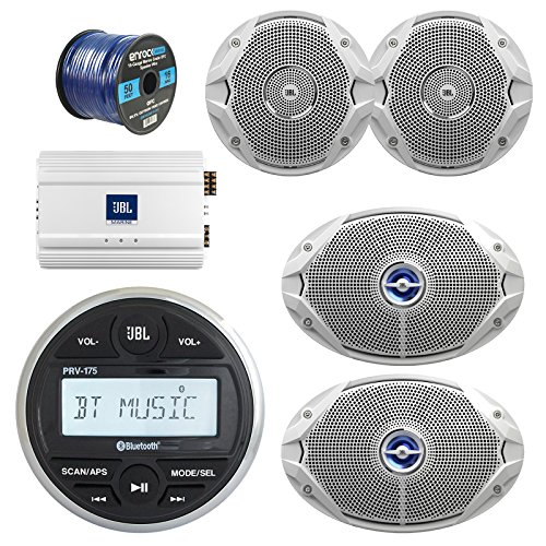 "JBL Gauge Style Marine Digital Media Bluetooth Receiver, JBL 4-Channel Full-Range Marine Amplifier, 2x JBL 6x9"" 2-Way White Coaxial Speakers + 2x JBL 6.5"" Speakers + Enrock 50 Foot 16g Speaker Wire"