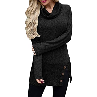 3766e58984be Image Unavailable. Image not available for. Color  haoricu Women s  Turtleneck Sweaters Cowl Neck Long Sleeve Knit ...