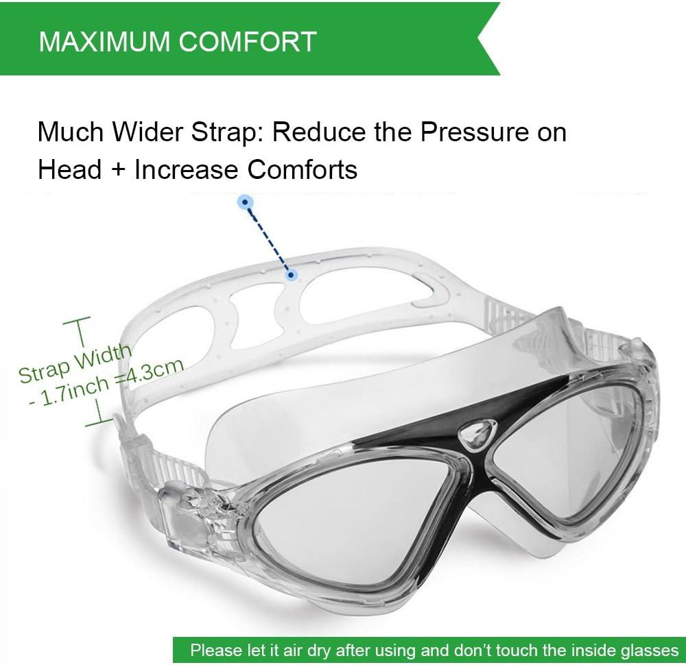 Occhiali da Nuoto per Adulto Anti Nebbia Nessuna Fuoriuscita Visione Chiara UV Protezione Facile da Regolare Professionale Comodo per Uomo e Donna