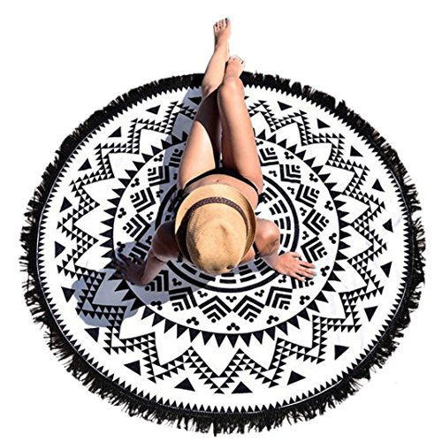 (HOT, YANG-YI Round Hippie Tapestry Beach Throw Mandala Towel Yoga Mat Bohemian Blanket wall hanging Decor (Black, 60 inches approx))