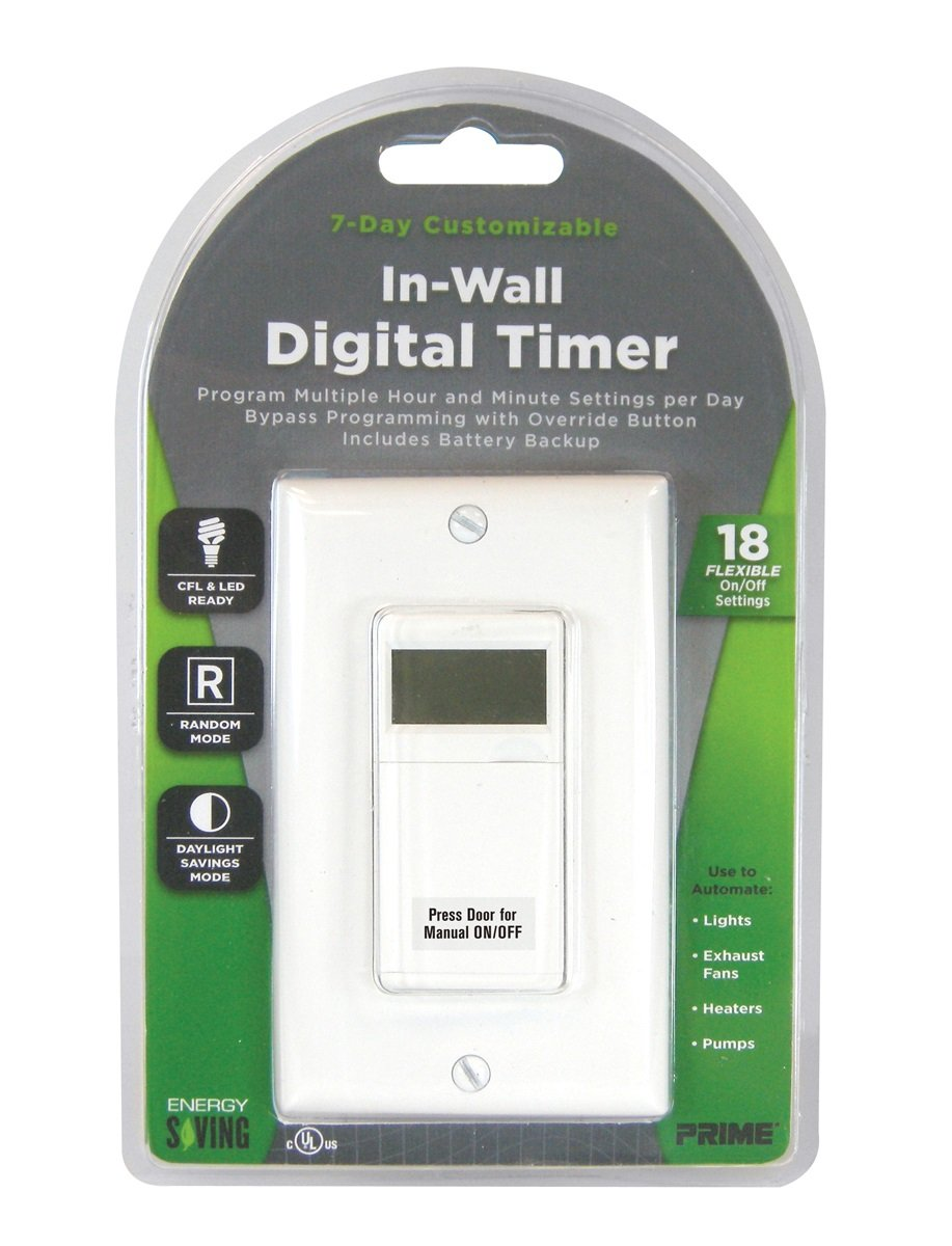 Prime Wire & Cable TNDIW07D In-Wall 7 Day Digital Timer with 18 Settings and Daylight Savings Timer Feature