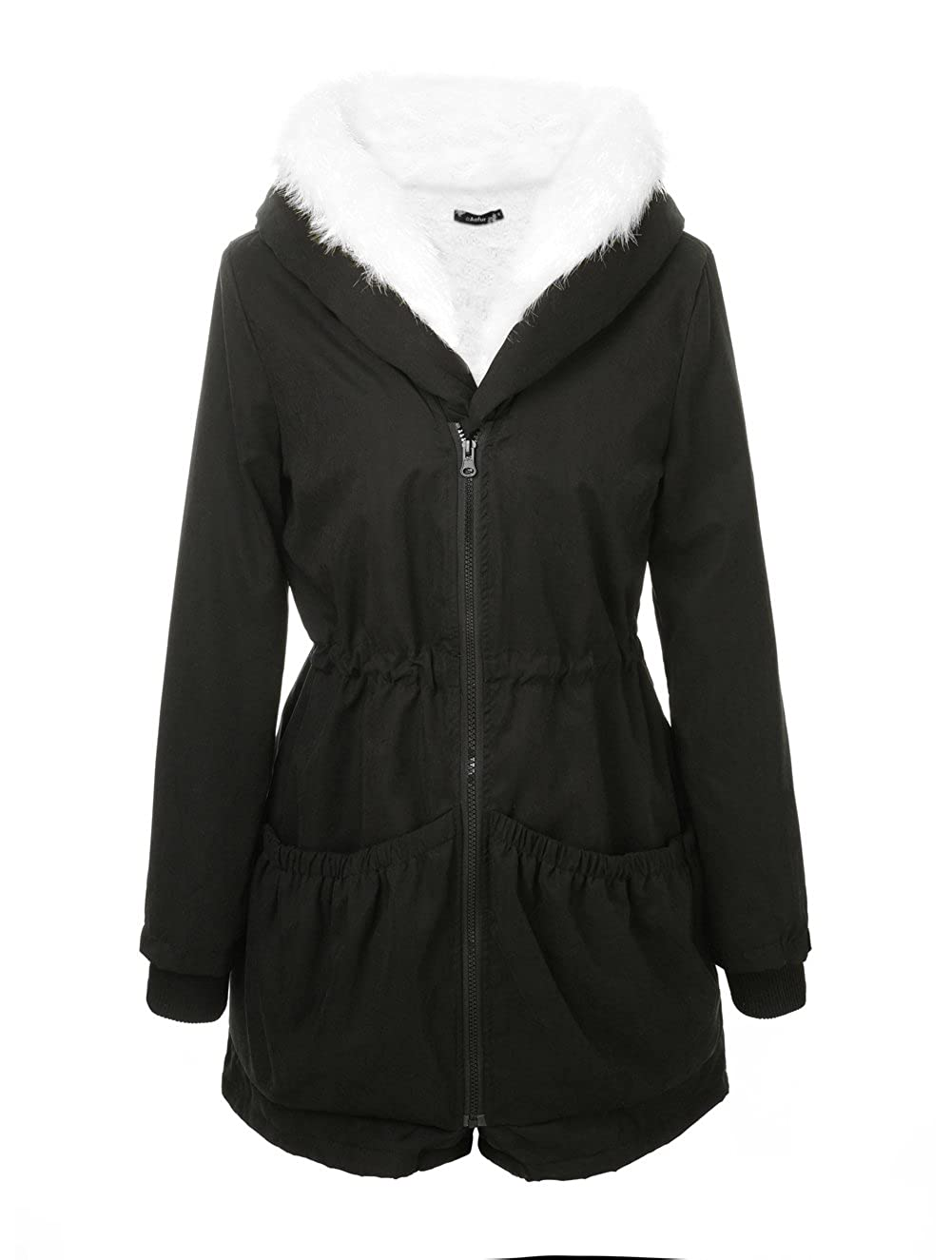 Black Aofur Womens Casual Coat Hooded Jacket Winter Parka Zip Lining with Fur