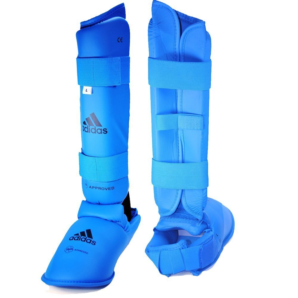Adidas WKF Leg Protector with Instep Guard - Blue - Small (Sz. 3-5) by adidas (Image #1)