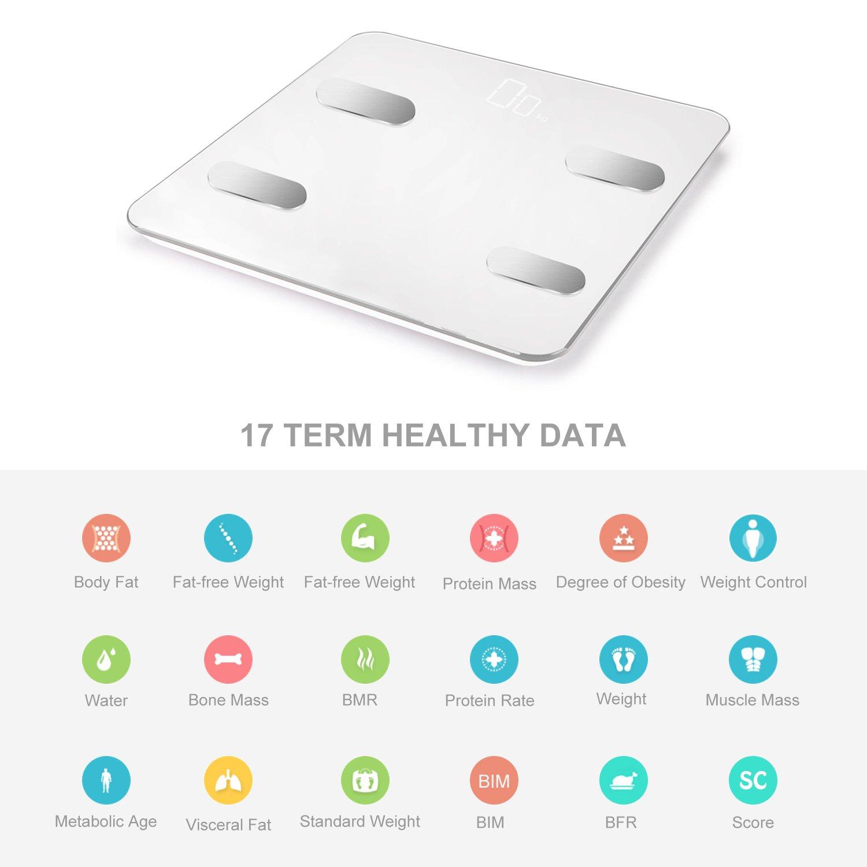 Báscula de Grasa Corporal Vigorun Bluetooth Básculas Digitales Básculas de Baño 17 Datos de Medición Corporal Peso/Masa muscular/Grasa Corporal/IMC/Tasa de ...
