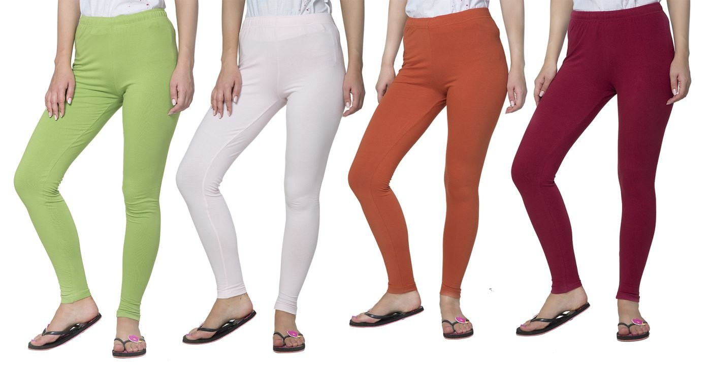 Clifton Women's Cotton Spandex Fine Jersey Leggings Pack of 4-Assorted-6-2XL