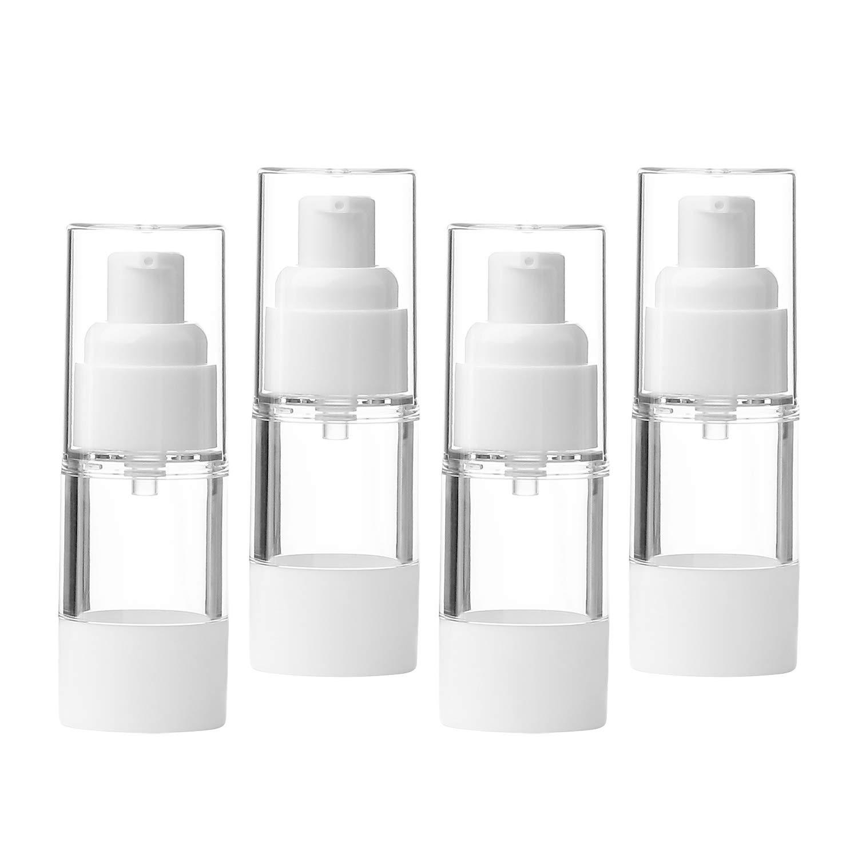 Sdootbeauty Airless Pump Bottle, Refillable Air Pump Bottles Empty Airless Vacuum Bottles Travel Airless Bottles - 0.5oz/15ml - 4 Pack