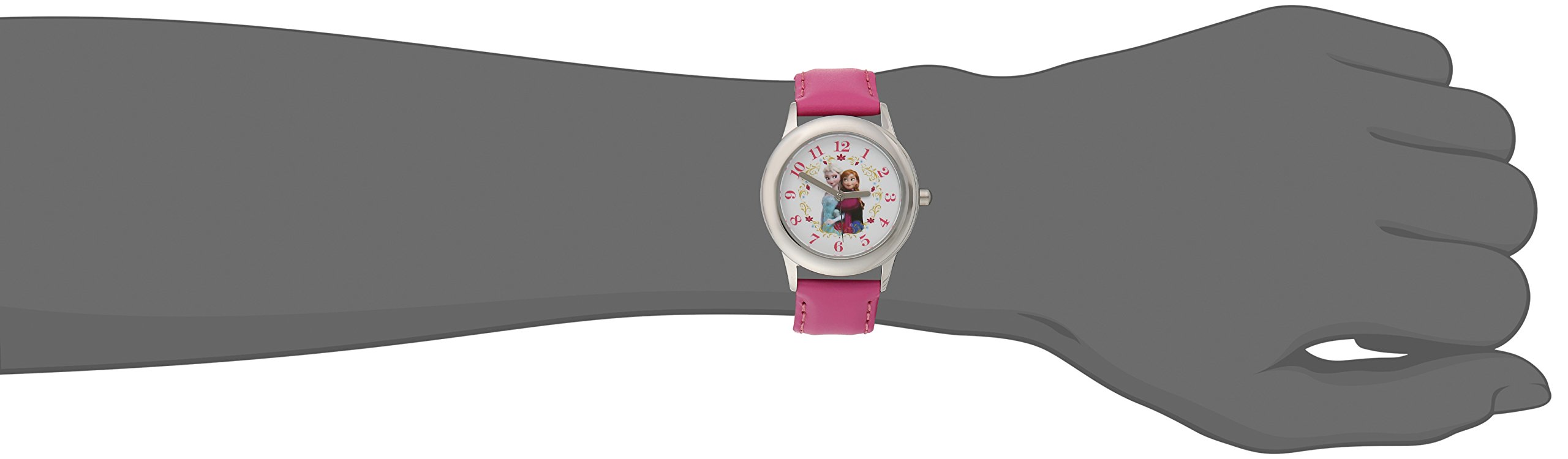 Disney Kids' W001793 ''Frozen Elsa and Anna'' Stainless Steel Watch with Pink Leather Band by Disney (Image #2)