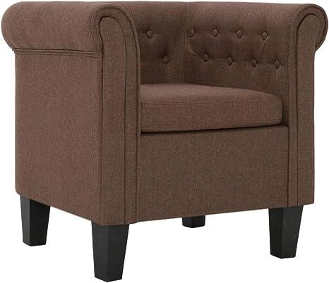 vidaXL Fauteuil avec Coussin Chaise de Salon Fauteuil de Salle de Séjour Chaise de Chambre à Coucher Intérieure Couloir Maion Marron Polyester