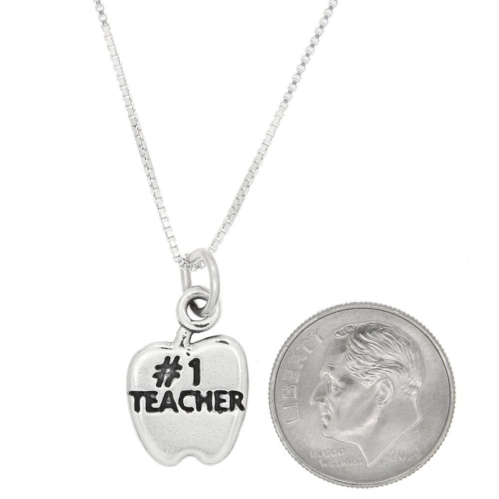 Sterling Silver Number One Teacher Apple Necklace
