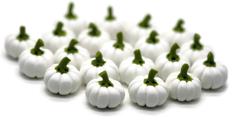 20 White Pumpin Fake Fruit Artificial Mini Pumpkins Halloween 1.0 cm Dollhouse Miniature Kitchen Food Supply
