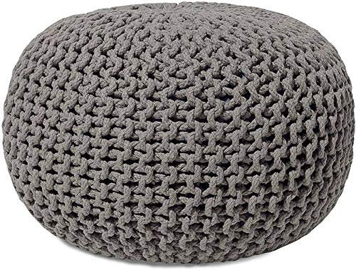 Samaaya Hand Knitted Cable Style Dori Pouf Floor Ottoman (Finish Color – Grey)