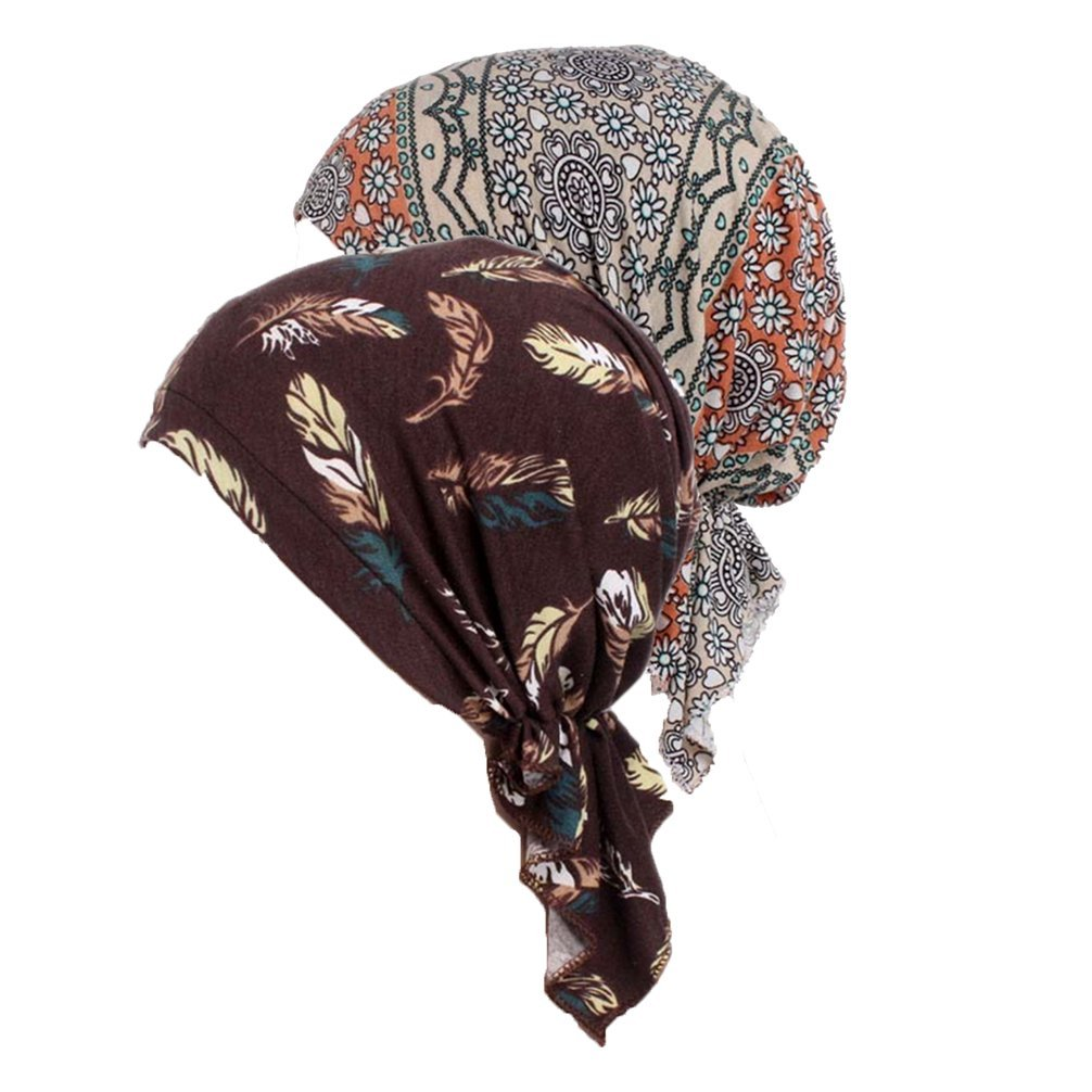 Women's Comfort Head Scarf Turban Headwear Chemo Beanie Scarves Coverings (Color mix3)