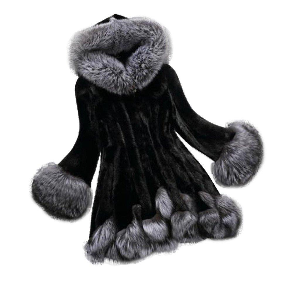YANG-YI Clearance, Fashion Women Long Sleeve Parka Outwear Jacket Hooded Winter Long Coat Solid Blouse (black, 2XL)