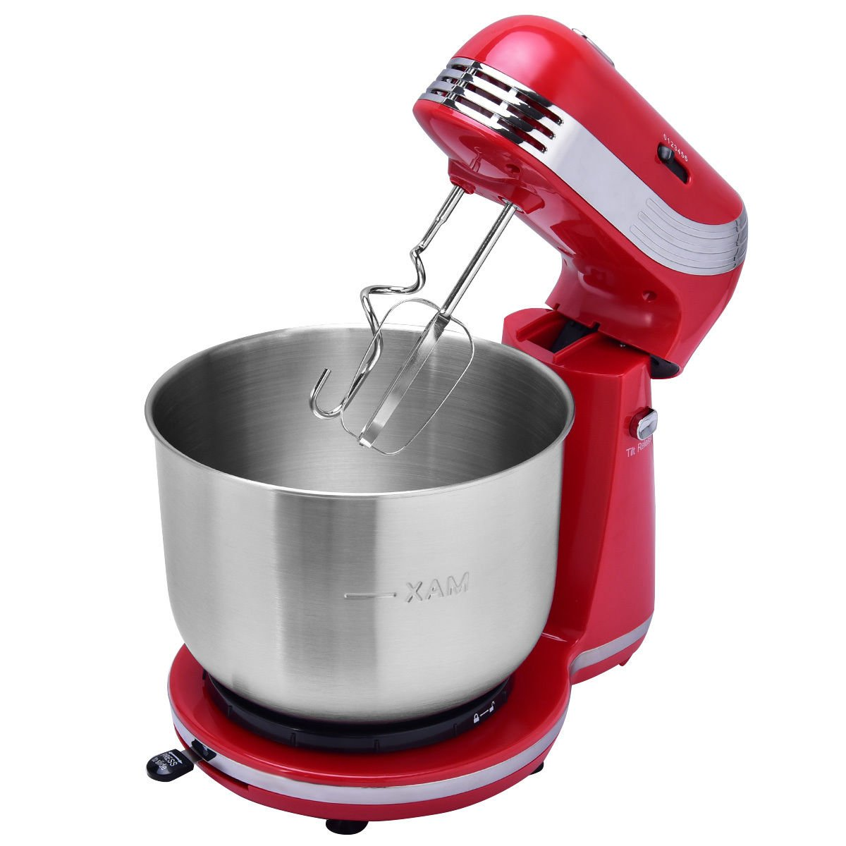 Costzon Electric Stand Mixer Tilt Head 6 Speed Food Mixer with 3 Quarts Stainless Steel Bowl, 2 Round Muddlers and 2 Spiral Muddlers