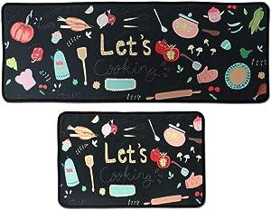 Leebei Kitchen Rugs Set 2 Piece,Kitchen Mats Non Slip Washable Polyester Anti-Fatigue Floor Mats Carpet for Bedroom/Indoor(15.7×23.6 inch+15.7×47.2 inch) (Vegetables)